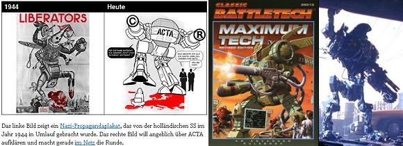 Links: Bildzitat von politikon.at / Bachleitner, Mitte: Classic Battletech: Maximum Tech (C) FanPro, Rechts: Ausschnitt aus Robocop 2 (C) MGM Studios