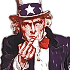 Uncle Sam zeigt der Welt den Finger